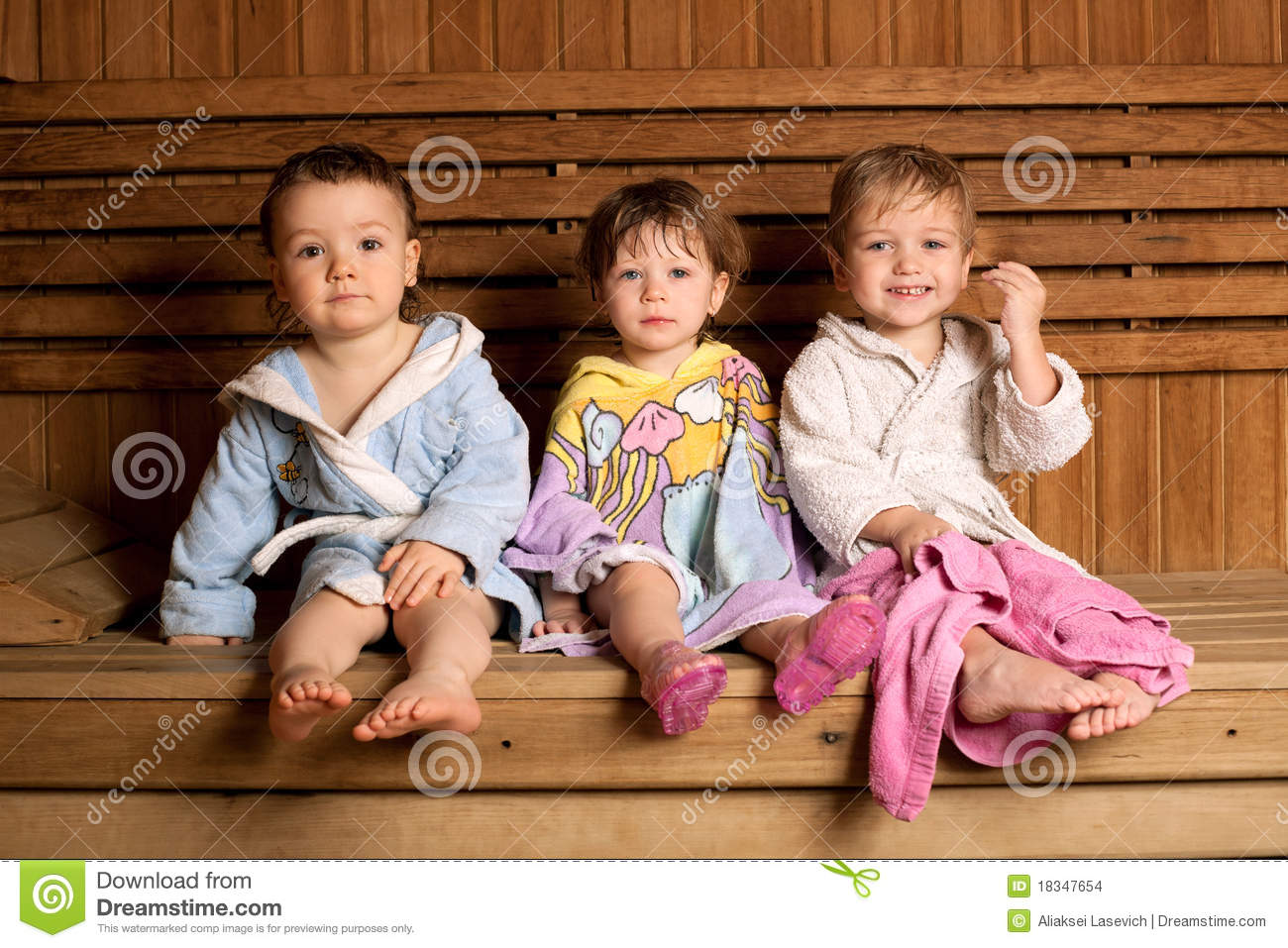 three funny children in sauna stock photo image 18347654. Black Bedroom Furniture Sets. Home Design Ideas