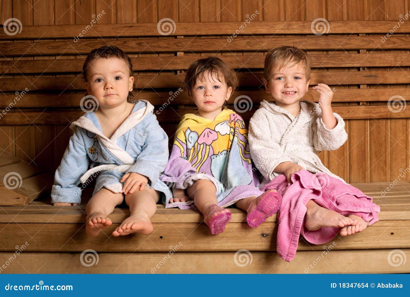 three funny children in sauna stock photo image 18347654. Black Bedroom Furniture Sets. Home Design Ideas