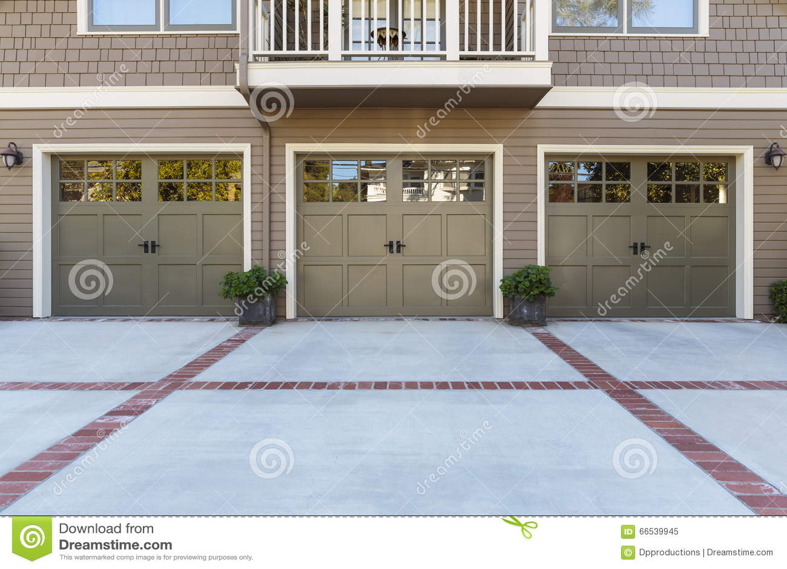 Three Garage Door With Windows Stock Photo Image 66539945