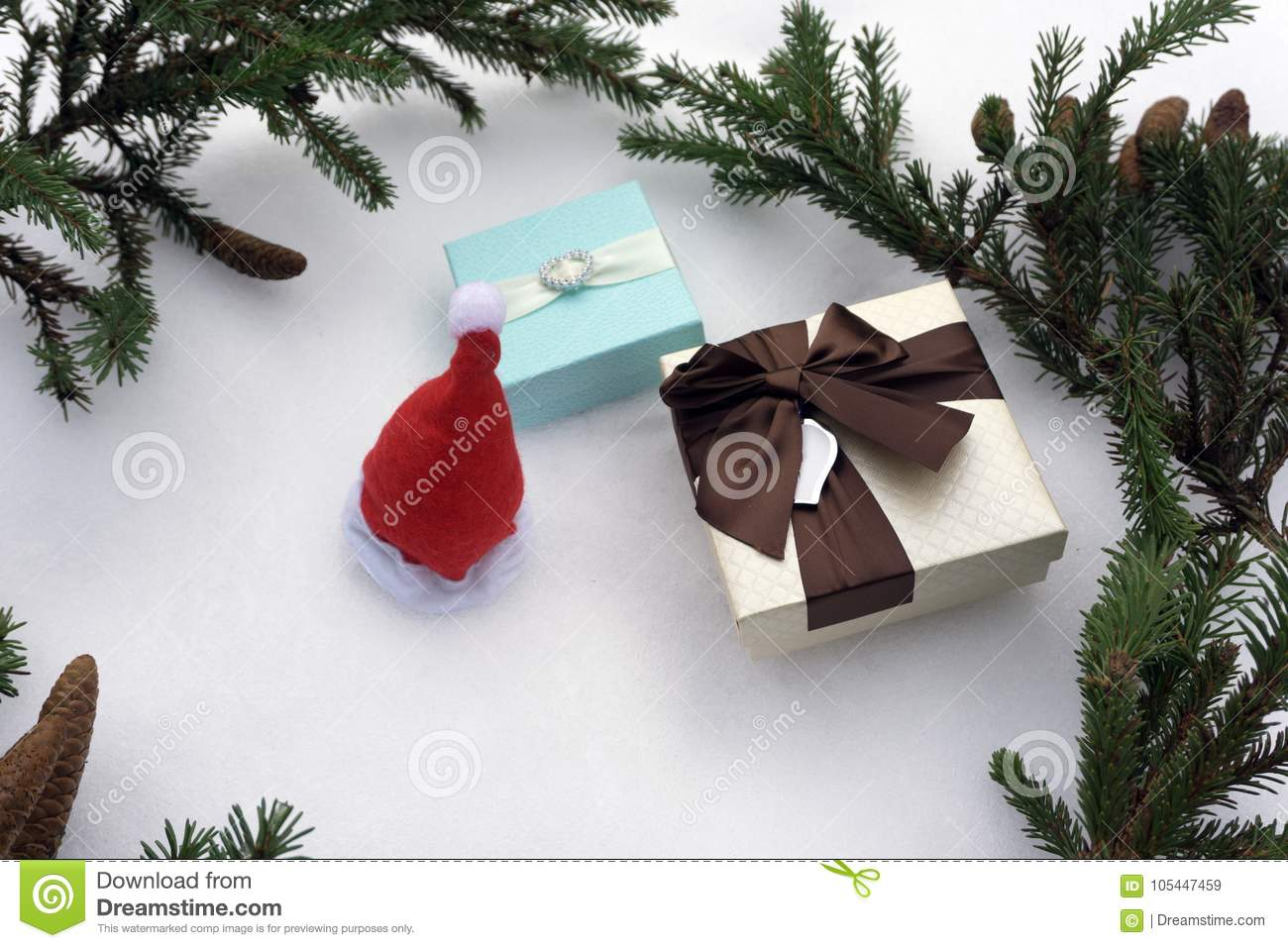Three Gift Boxes, Christmas Decorations, Spruce Branches And Pine ...