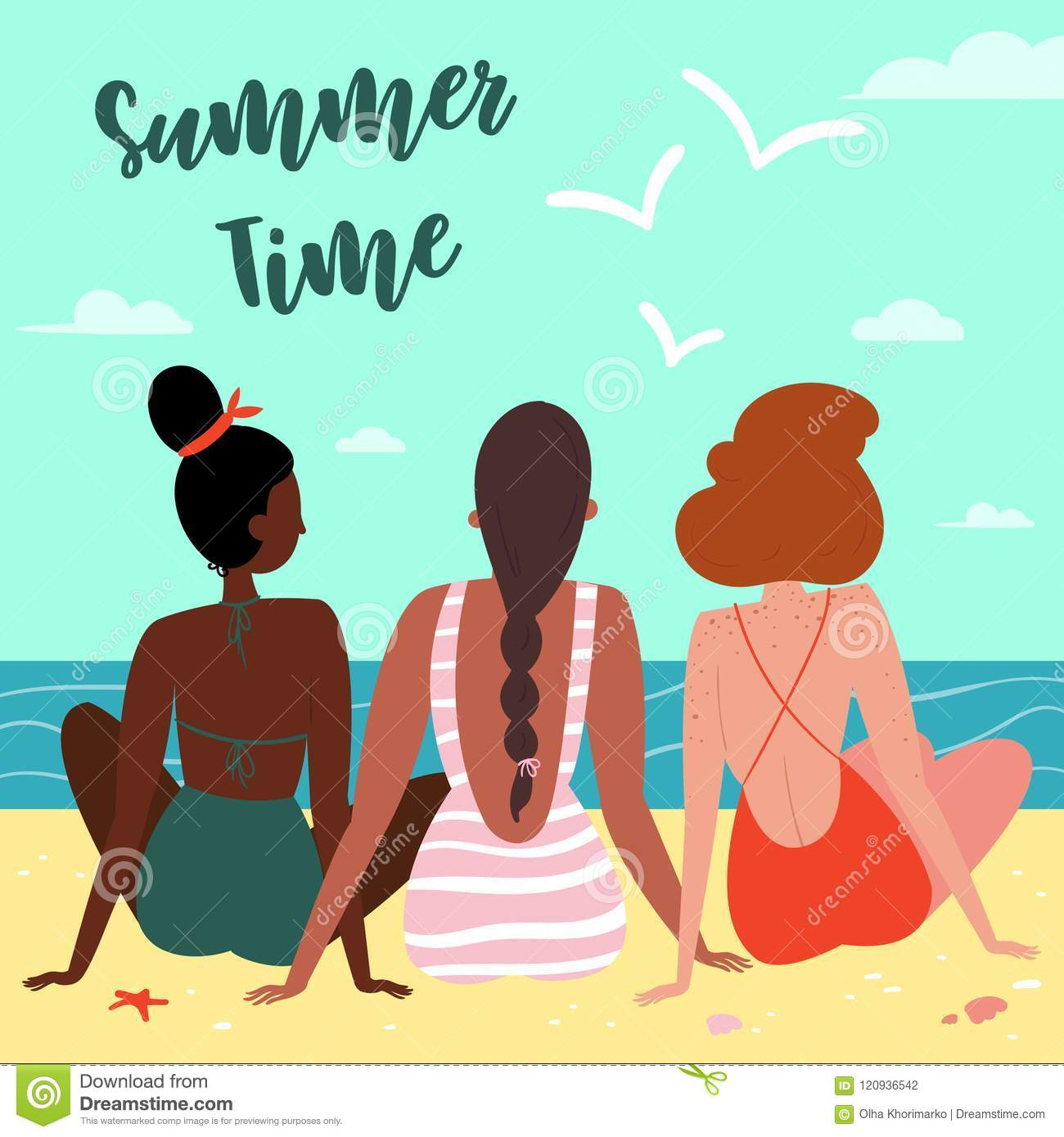 3e1aefad4042c Royalty-Free Vector. Three girls on the beach, seen from behind