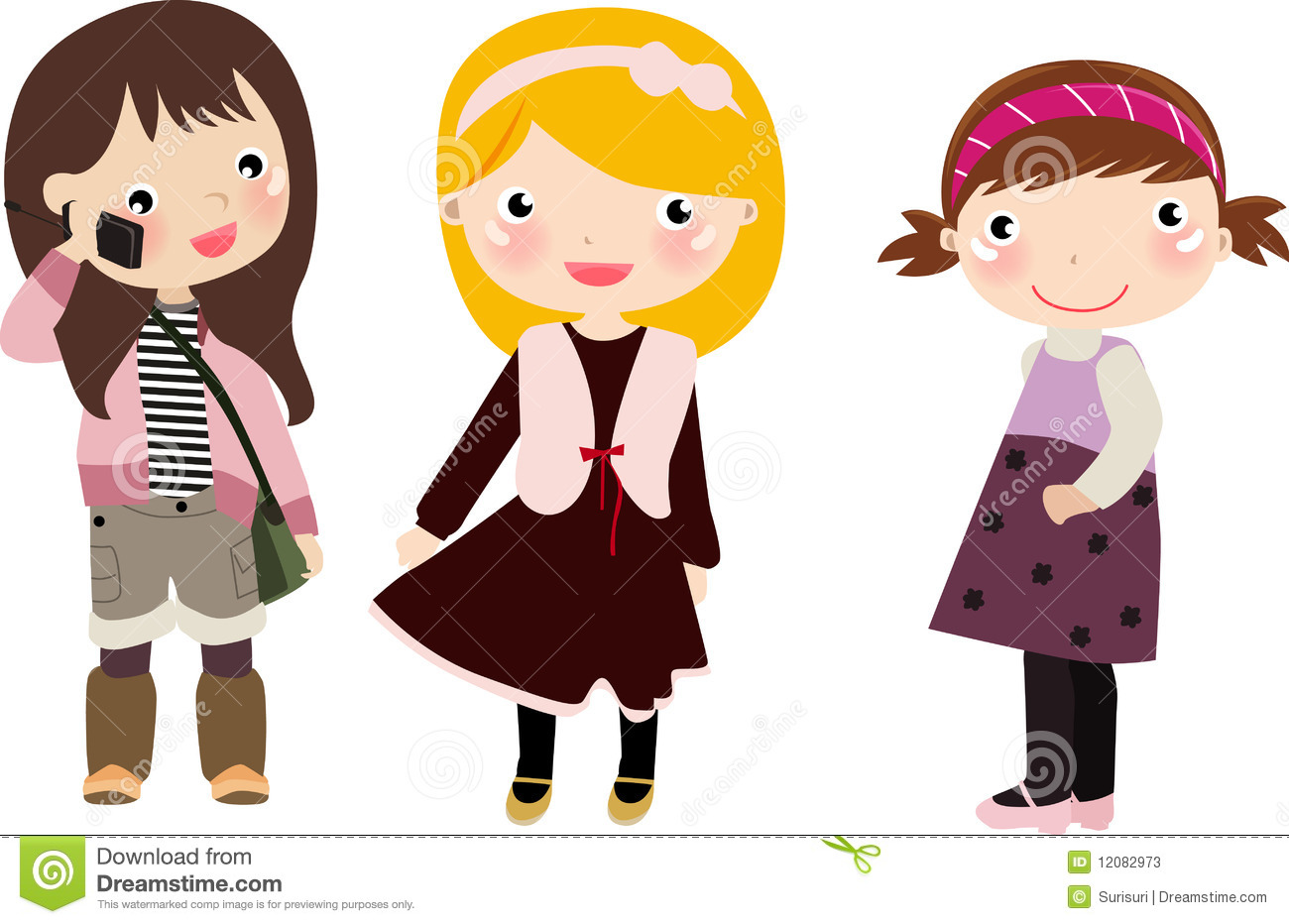 Three Girls,kids Stock Photos - Image: 12082973