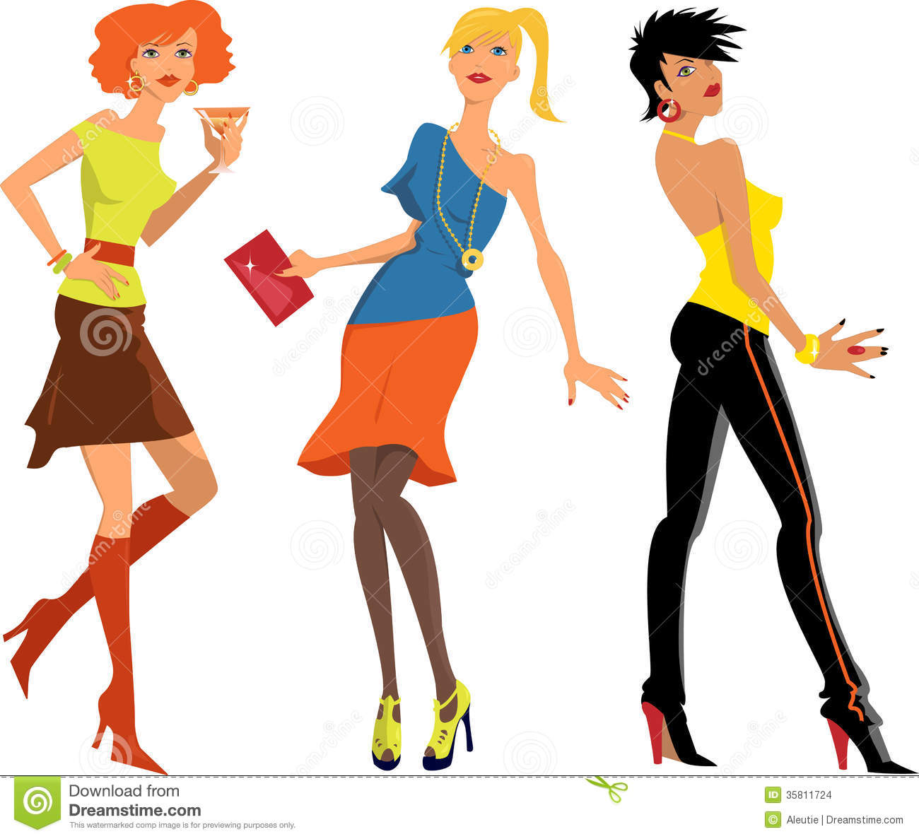 Cartoon Characters Clothes : Three girls at the party stock vector illustration of