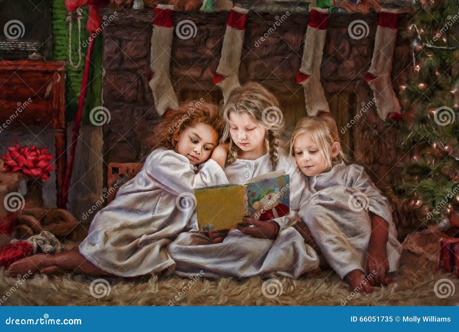Three Girls Reading Christmas Story Book