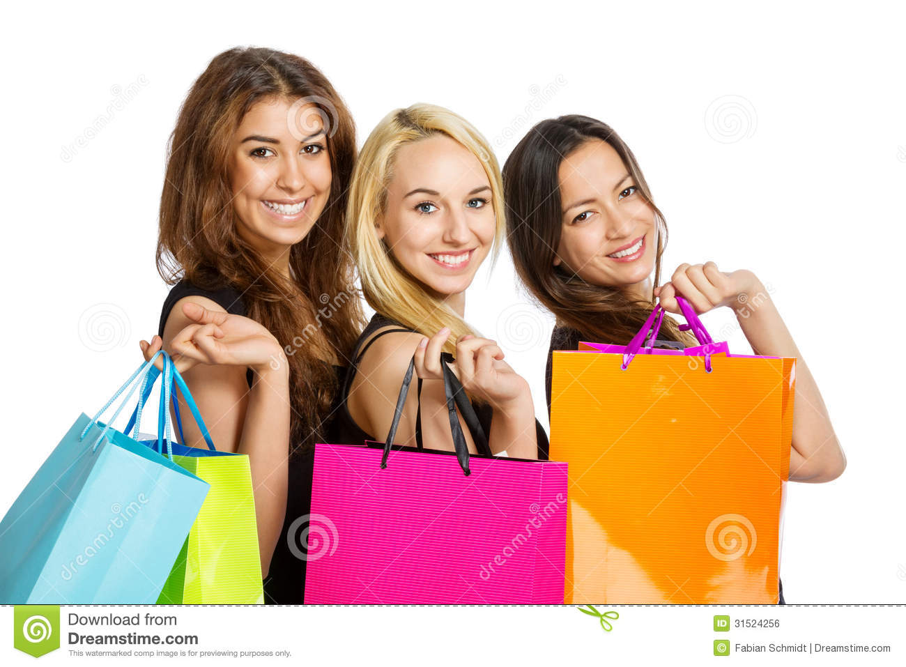 Three Girls With Shopping Bags Royalty Free Stock Image - Image ...