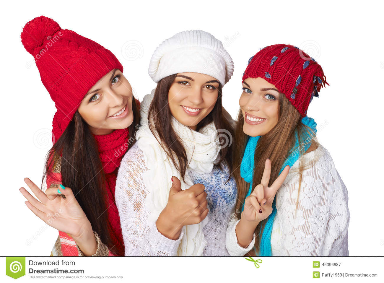 Three girls with the sign of victory stock photography for Ladeblok wit 3 lades