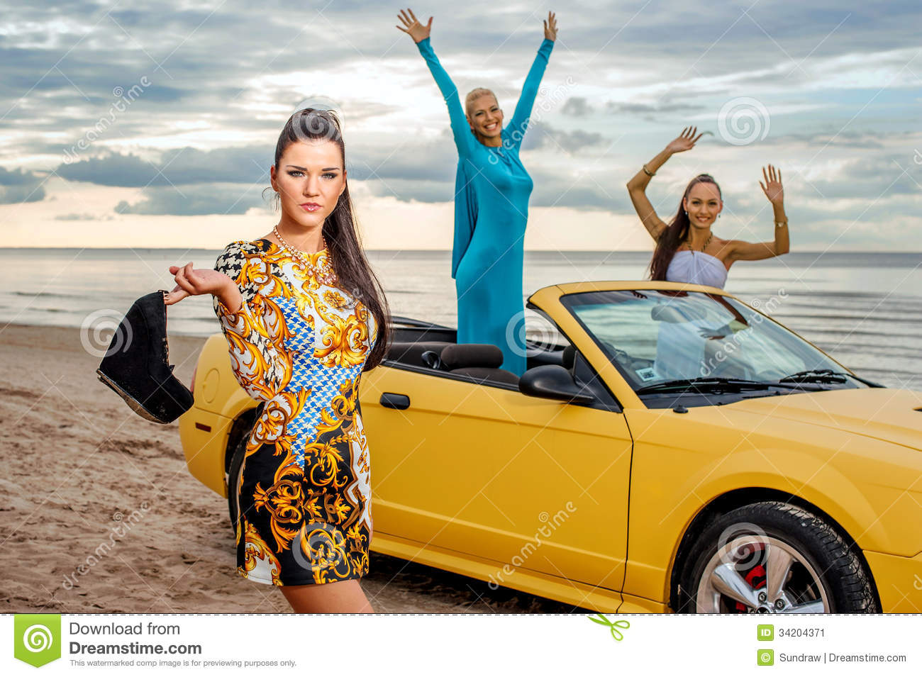 Three Girls With Sport Car Stock Image Image Of Hands 34204371