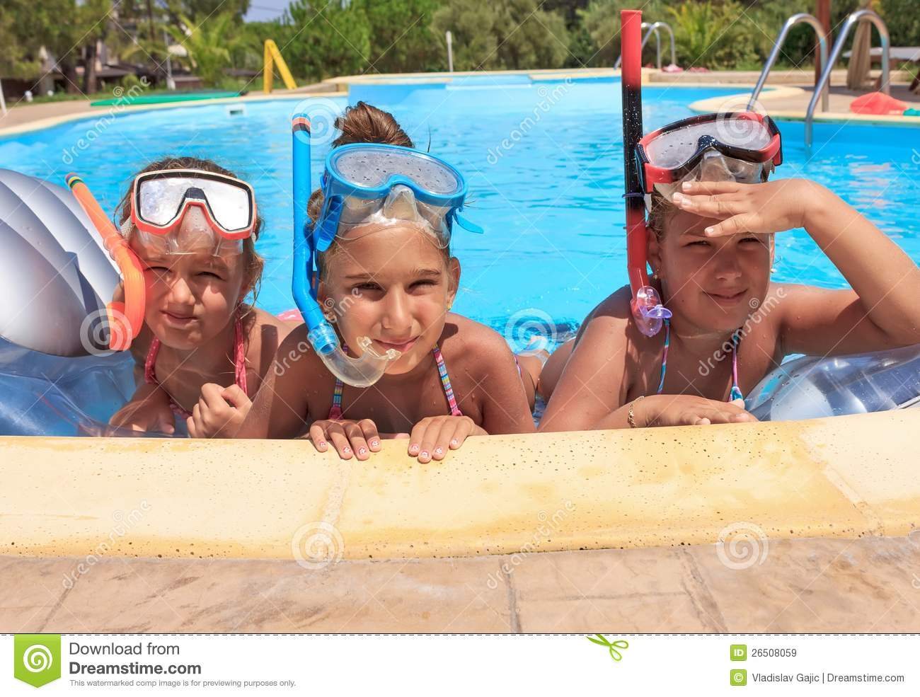 Three Girls In The Swimming Pool Royalty Free Stock Images Image 26508059