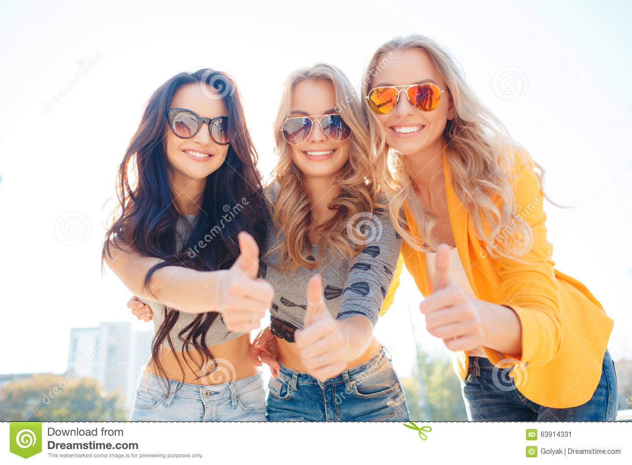 Three Girls Are Walking In Summer Park Stock Image Image Of