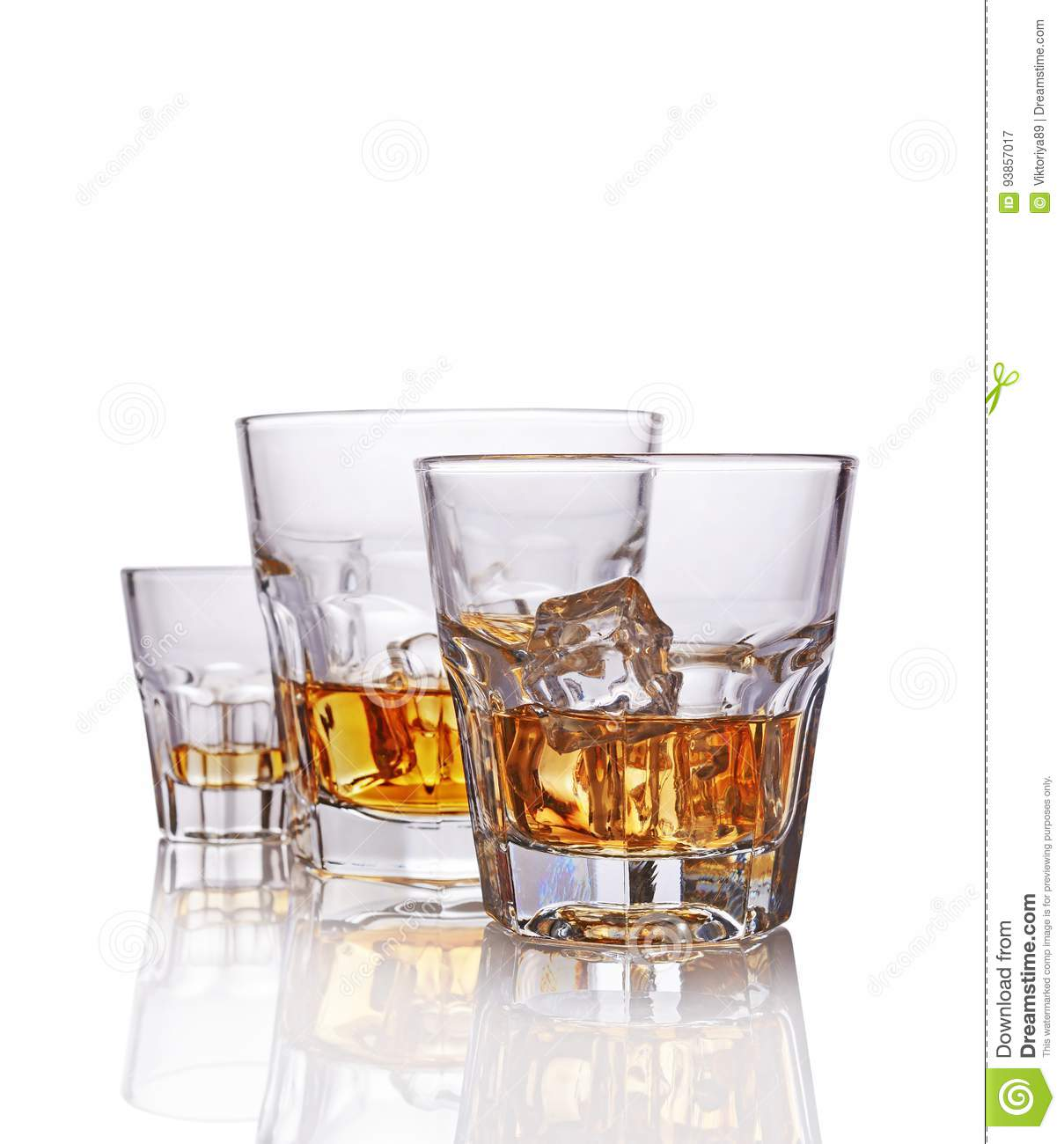 Three Glasses Of Strong Alcoholic Drink Scotch Whiskey