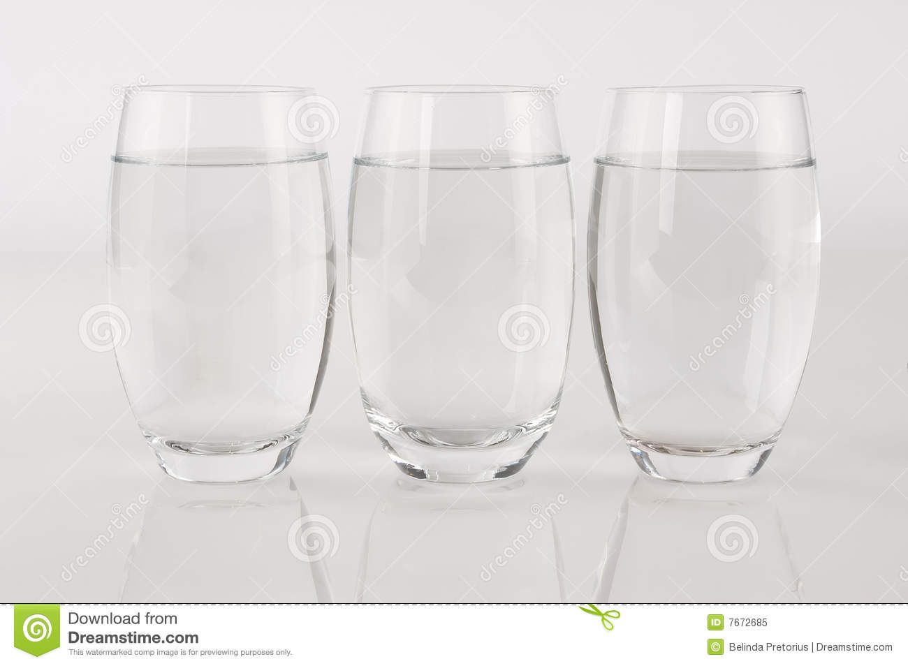 Three Glasses Of Water In A Row Royalty Free Stock Photo