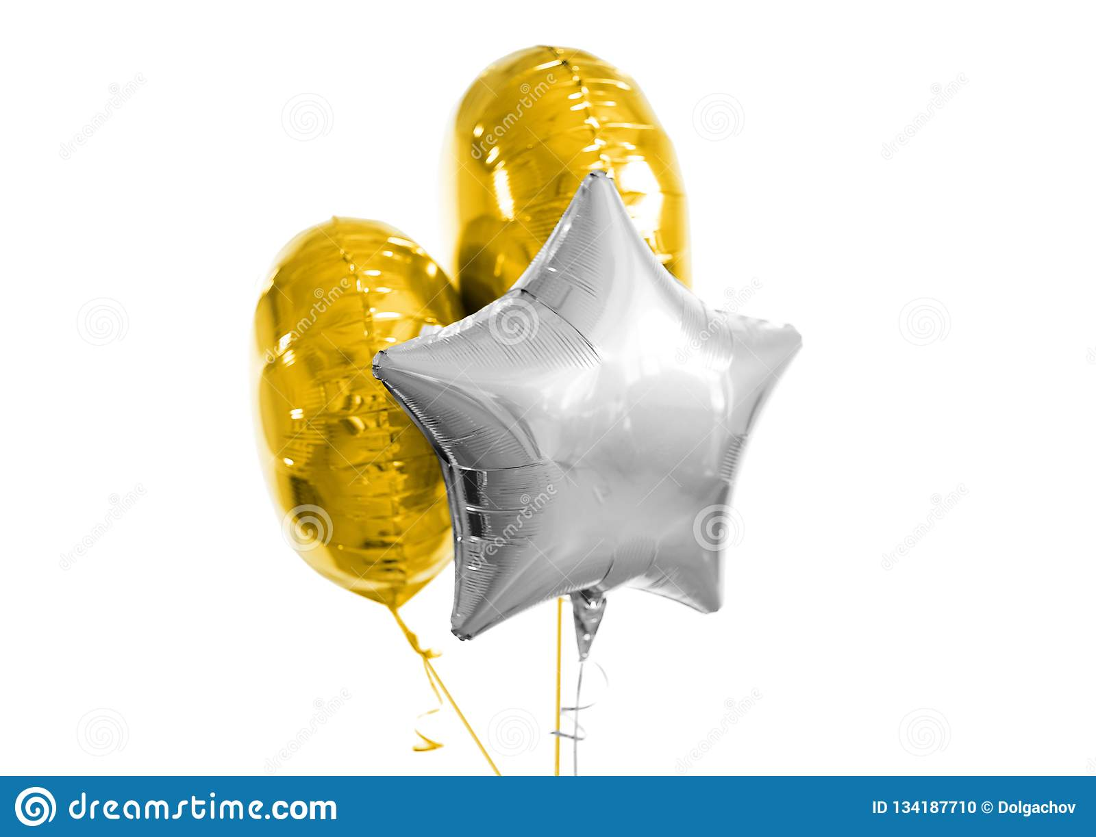 Three Gold And Silver Helium Balloons On White Stock Photo