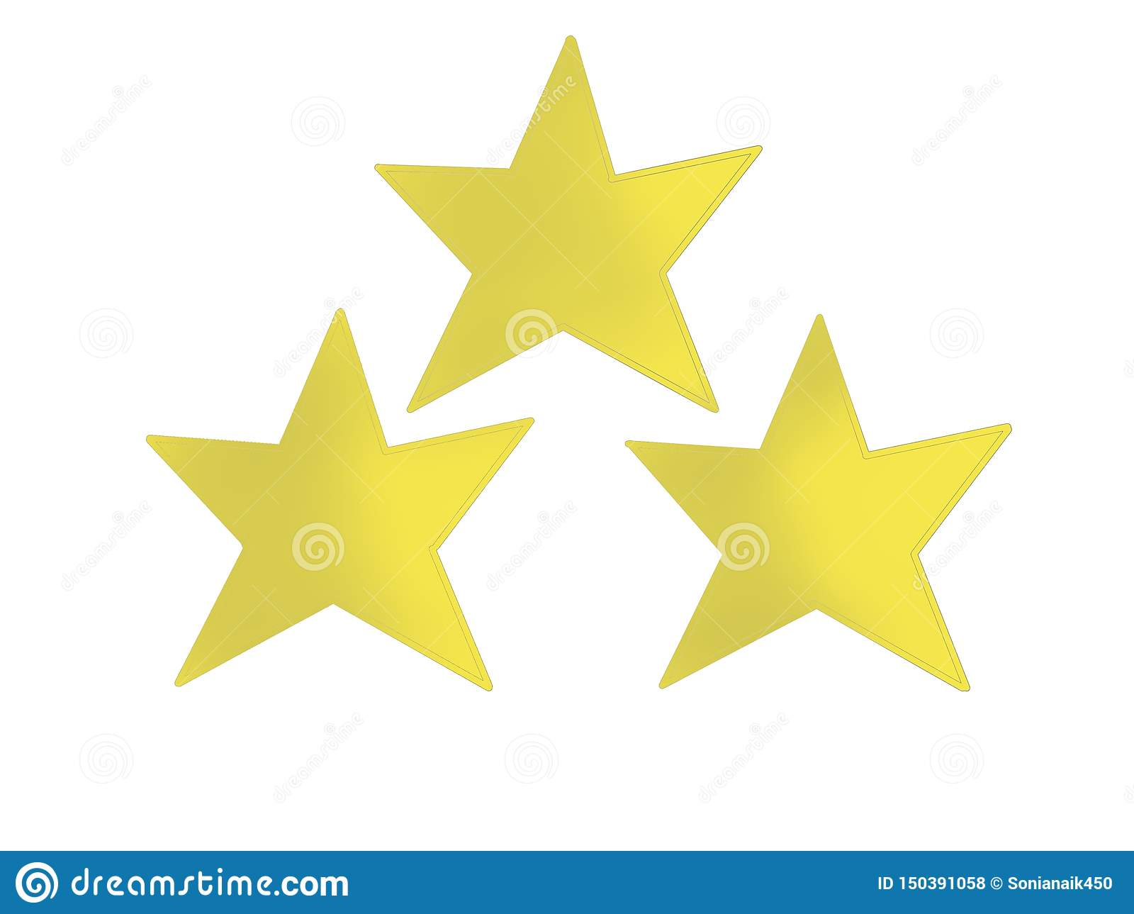 Three golden star in a pyramid shape