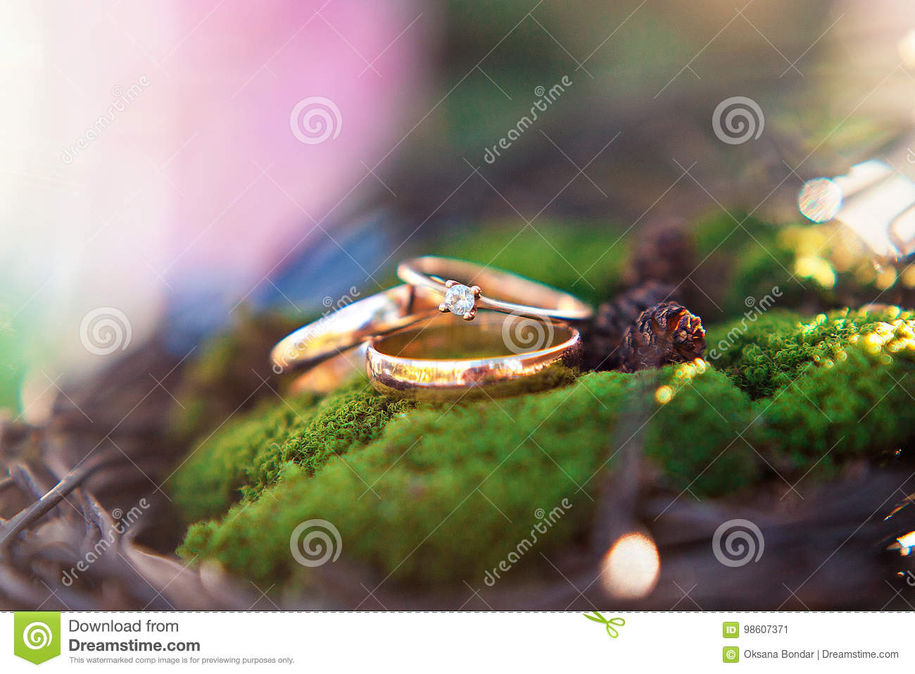 Three golden wedding rings on the moss background.