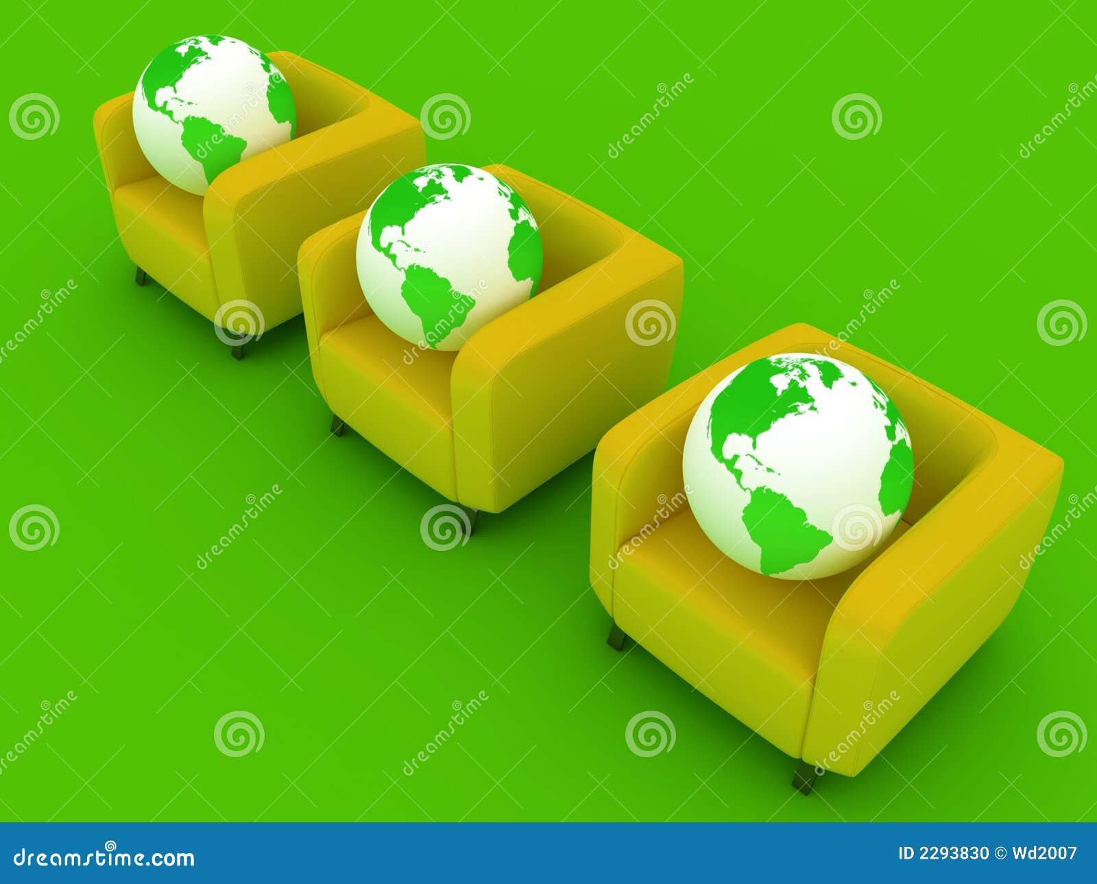 Three green Globes and sofa
