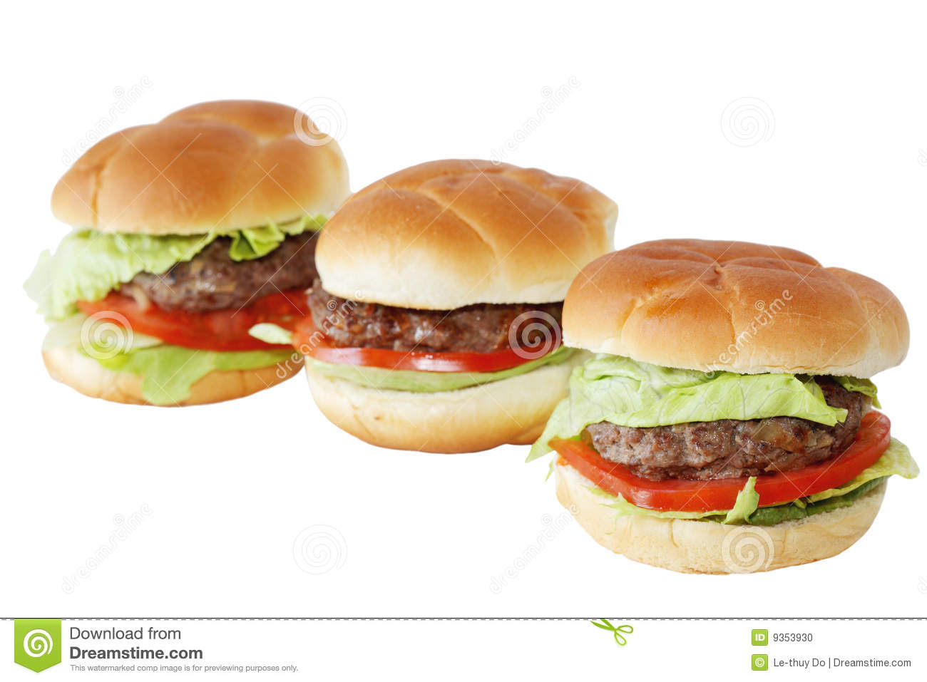 Three Hamburgers Stock Photo - Image: 9353930