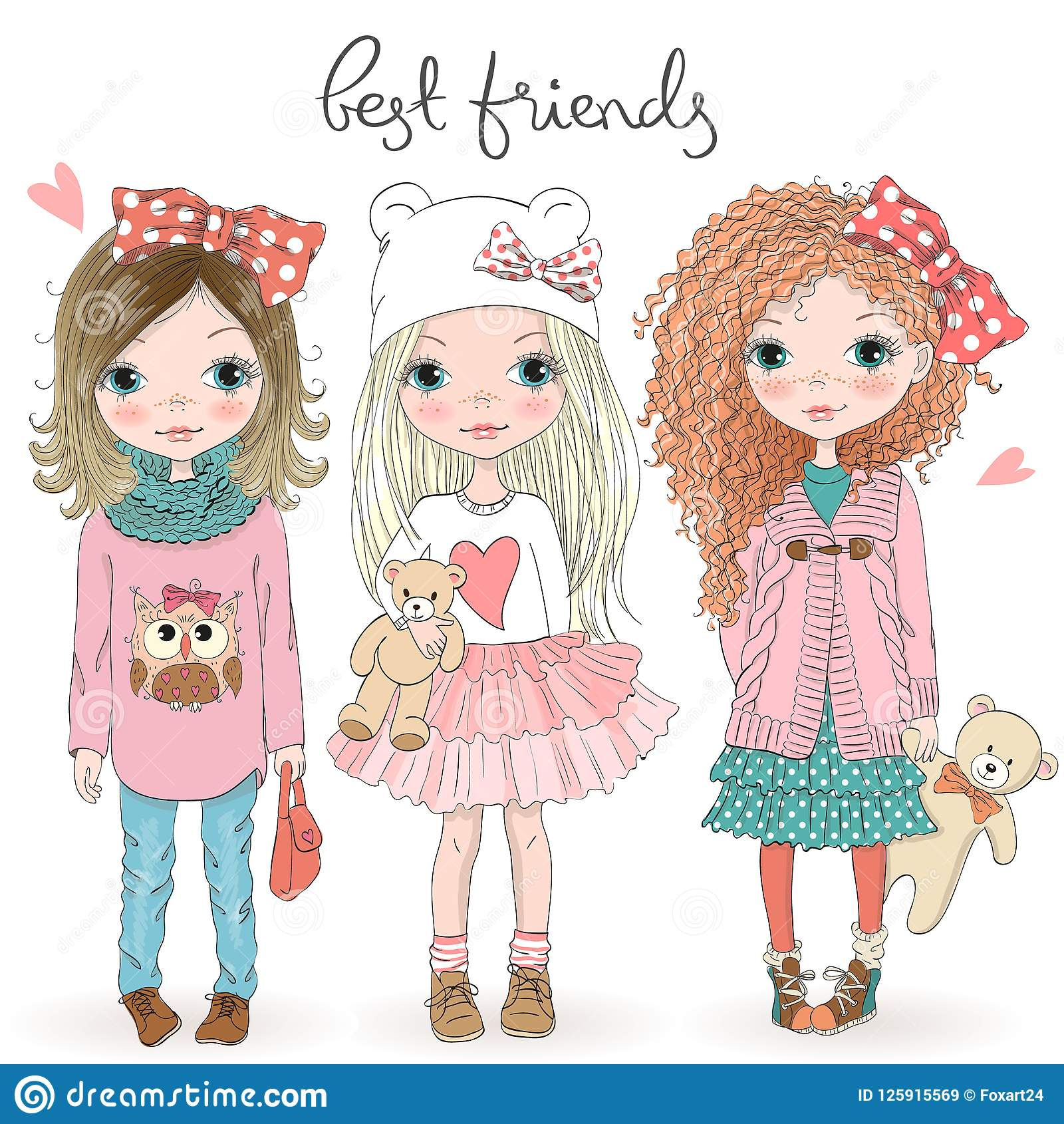 Three Hand Drawn Beautiful Cute Little Girls With Teddy Bears On The