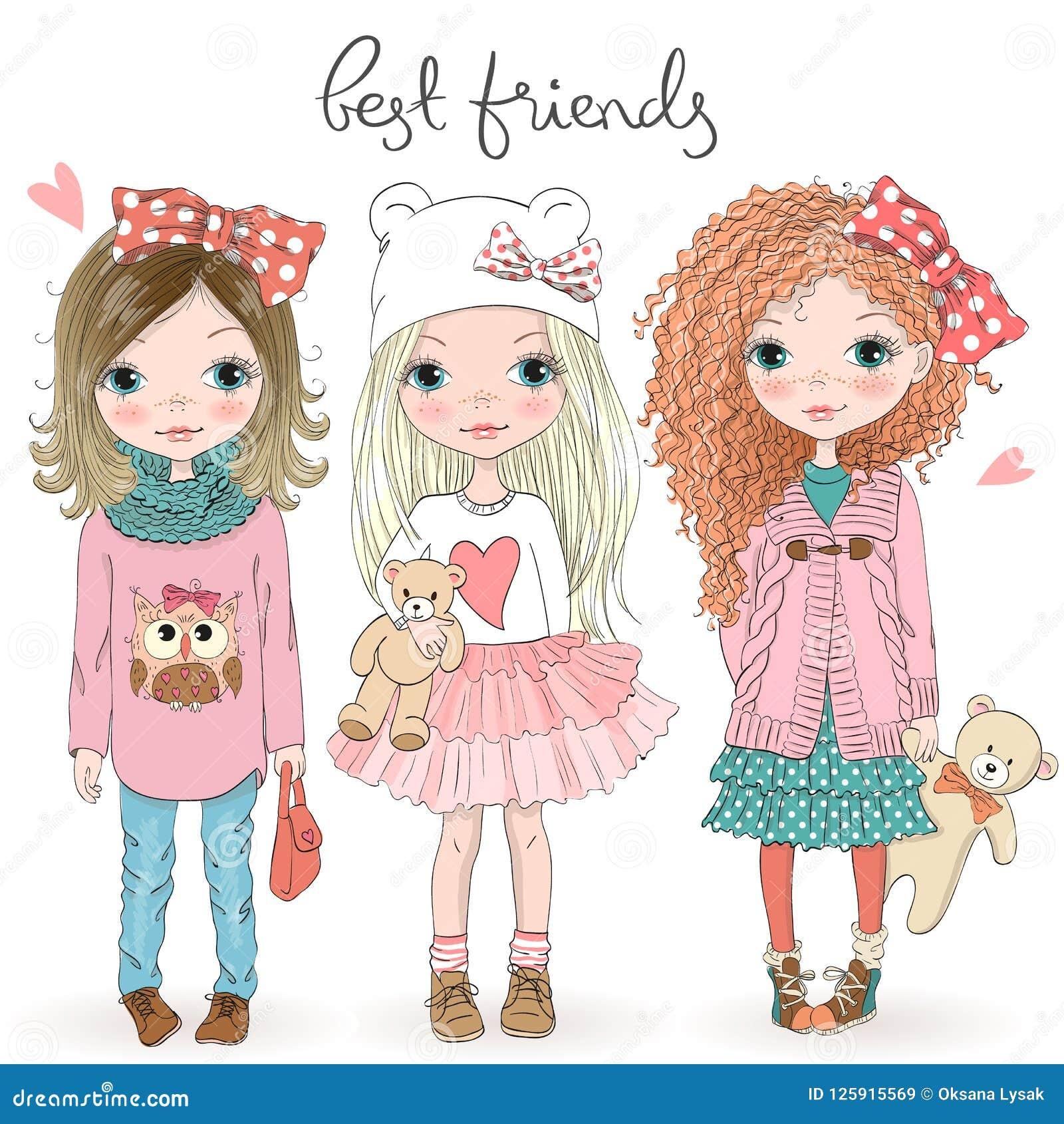 Three Best Friends Girls Stock Illustrations 80 Three Best Friends Girls Stock Illustrations Vectors Clipart Dreamstime