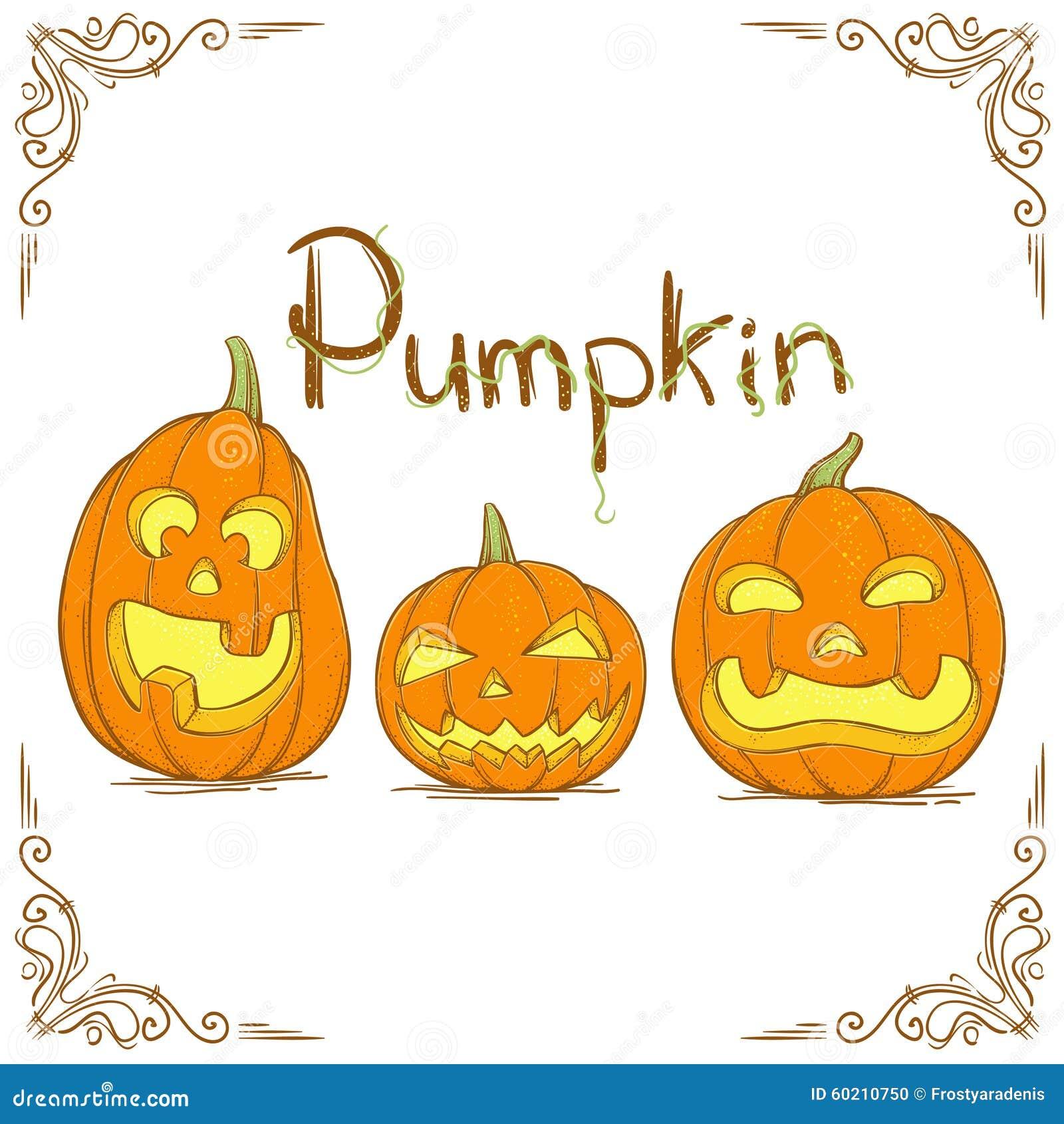 Three hand drawn pumpkin stock vector image