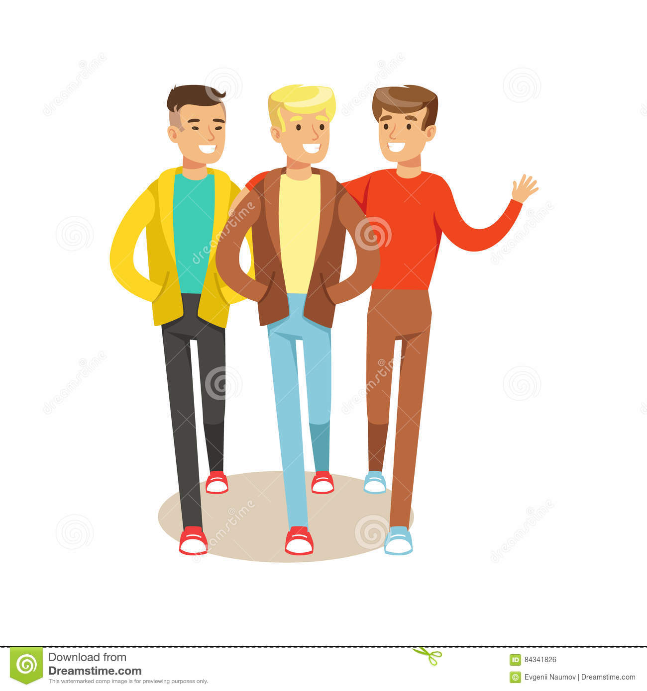 Three Happy Best Friends Going Out Part Of Friendship Illustration