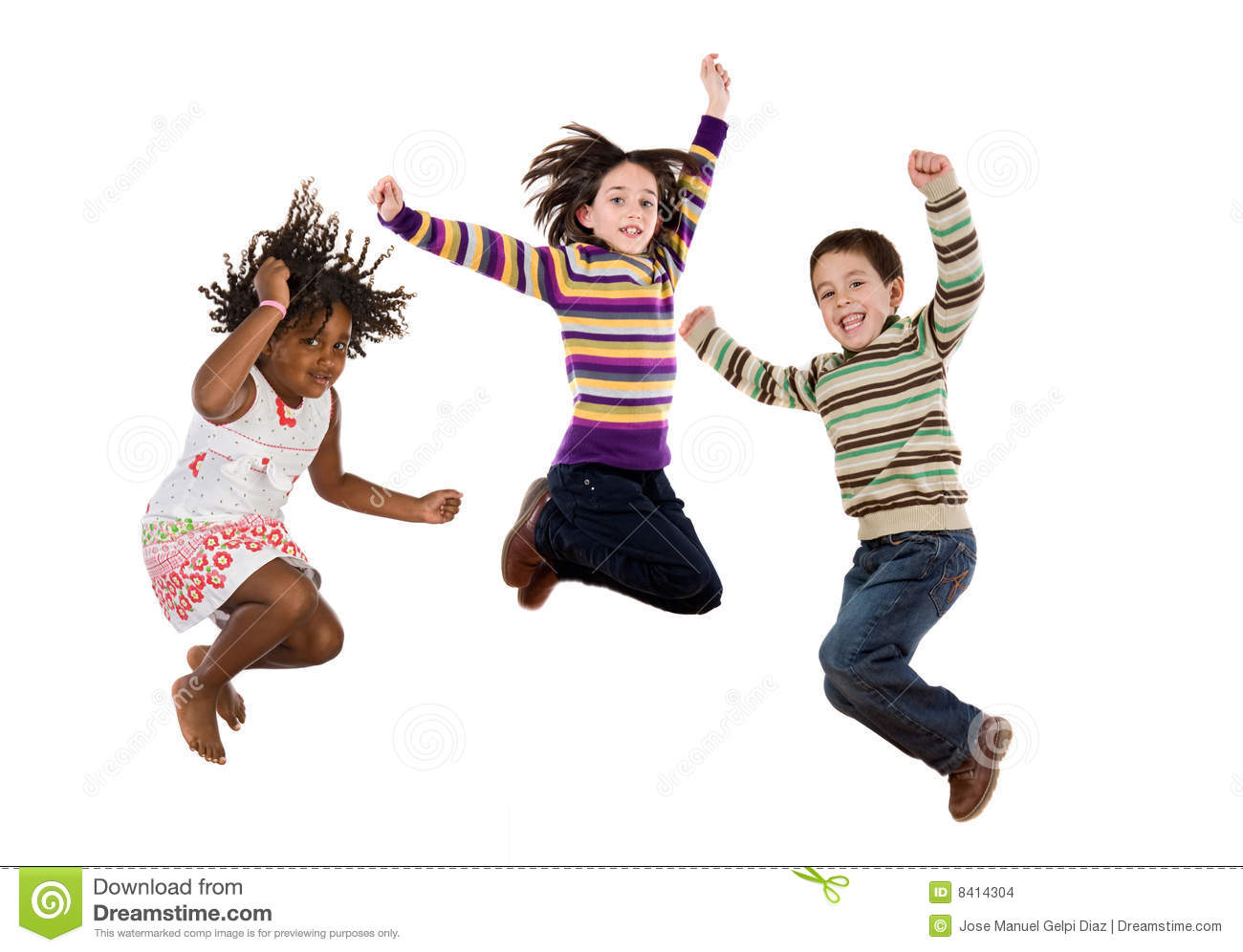 three happy children jumping at once stock images image