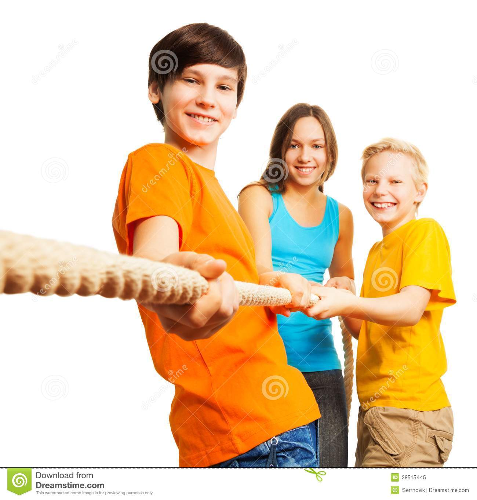 Three happy kids pull the rope