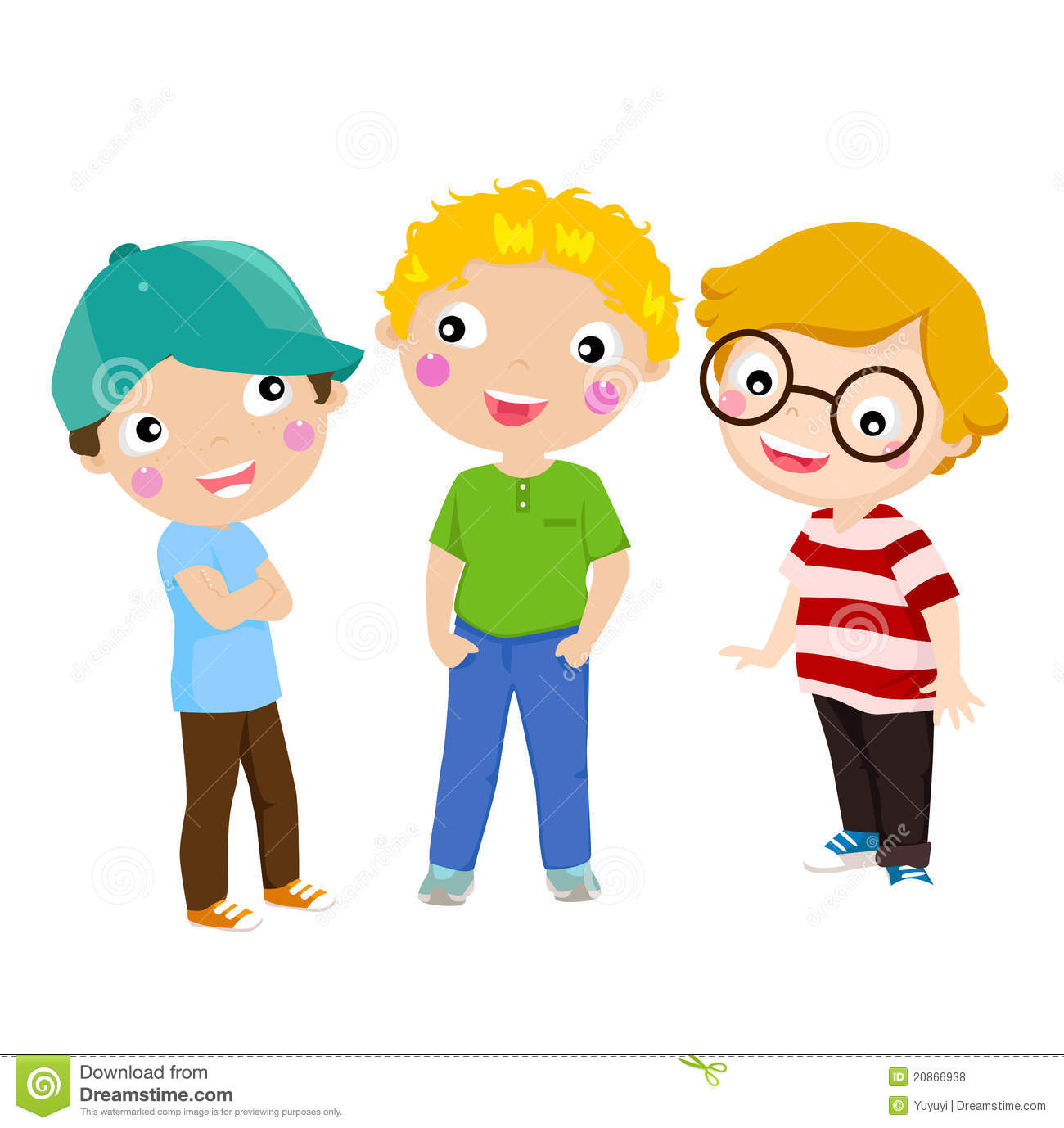 three happy kids standing stock vector illustration of