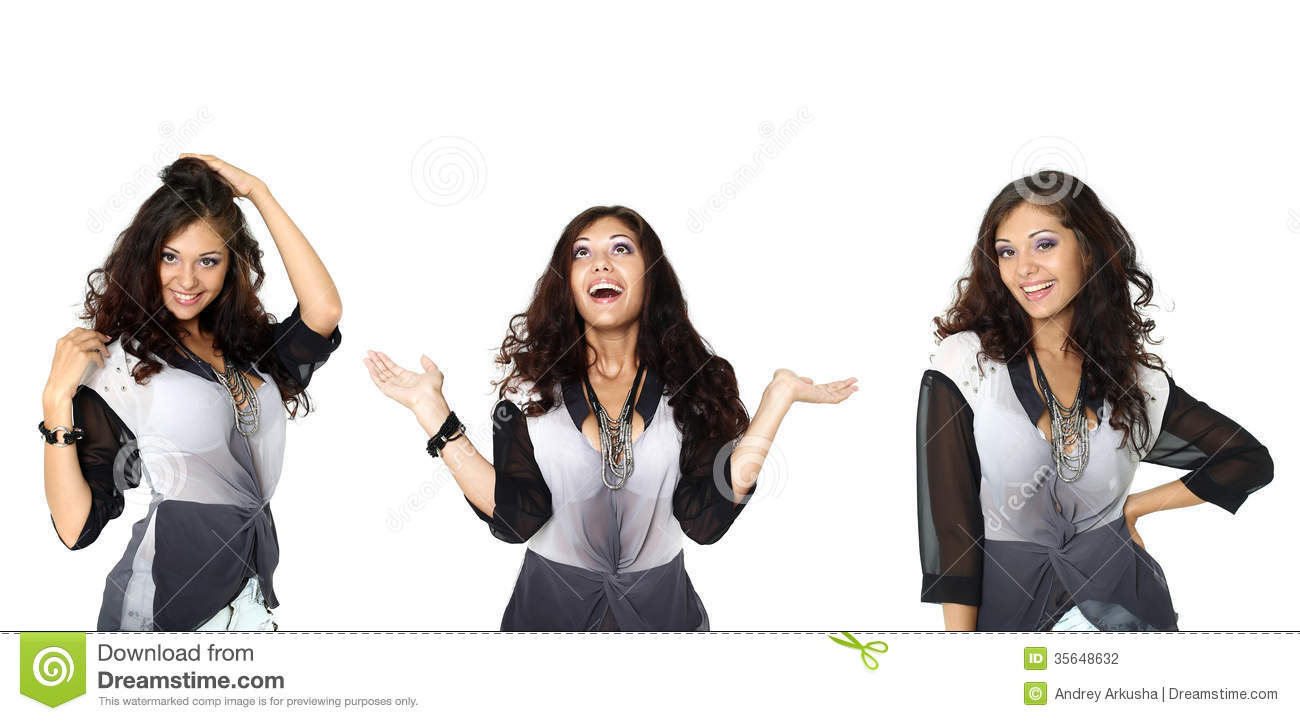 Stock Photography: Three happy Models in a fashionable blouse