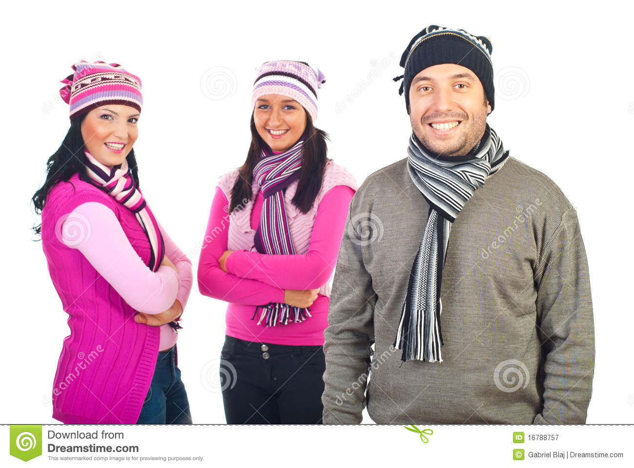 Royalty Free Stock Photography: Three happy models in winter clothes