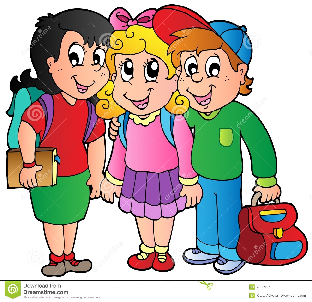 Three Happy School Kids Royalty Free Stock Photography - Image ... Giggle Clipart