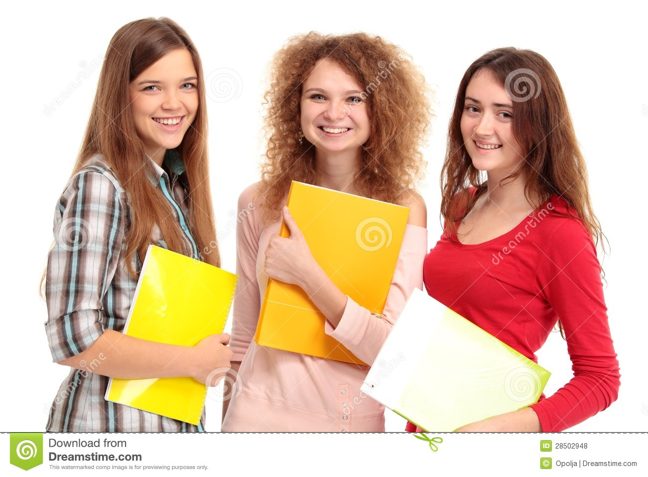 Three happy students standing together with fun royalty free stock