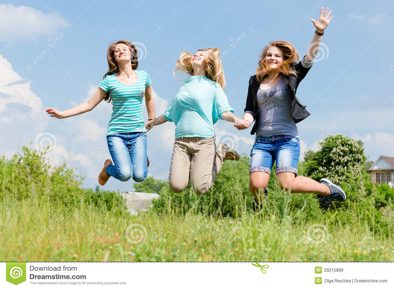 ... Stock Images: Three happy teen girls friends jumping high in blue sky Best Friends Holding Hands Girls