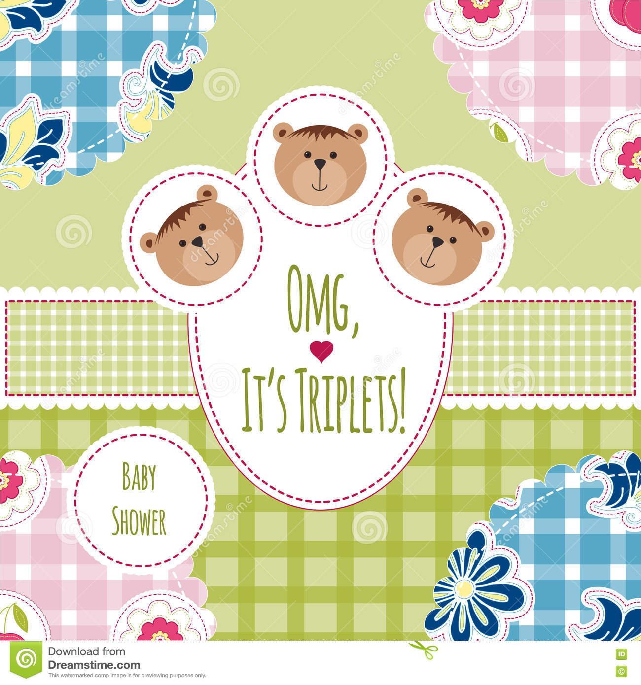 Three Happy Triplets. Baby Arrival Announcement Card ...