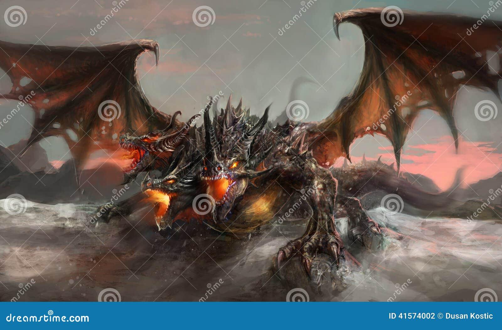 Three Headed Dragon Stock Illustration  Image 41574002
