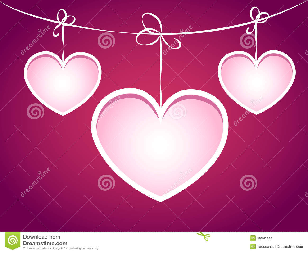 Three Hearts Hanging On A String. Stock Vector - Illustration of ...