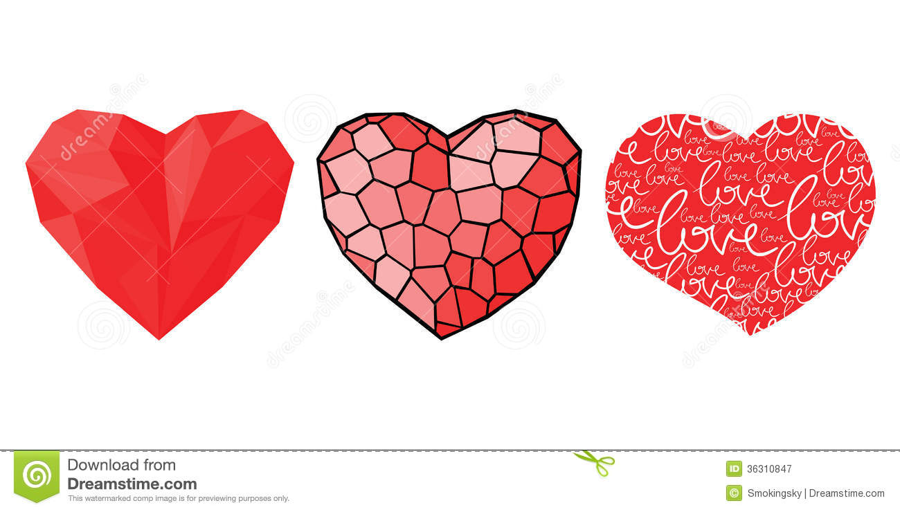 Three Hearts For Valentines Day Stock Vector Illustration Of