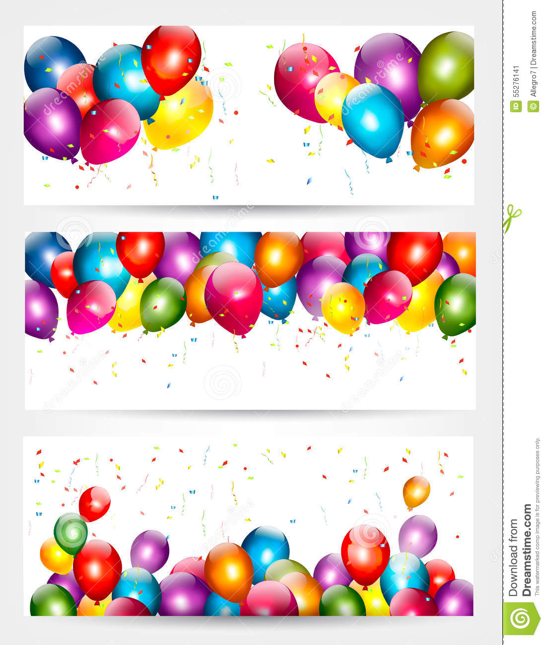 Three Holiday Birthday Banners With Balloons. Stock Vector