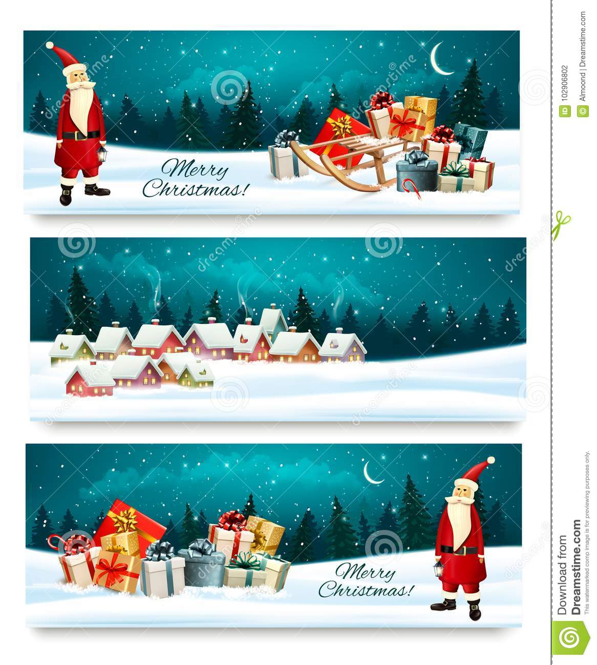 Christmas Banners.Three Holiday Christmas Banners With A Gift Boxes Stock