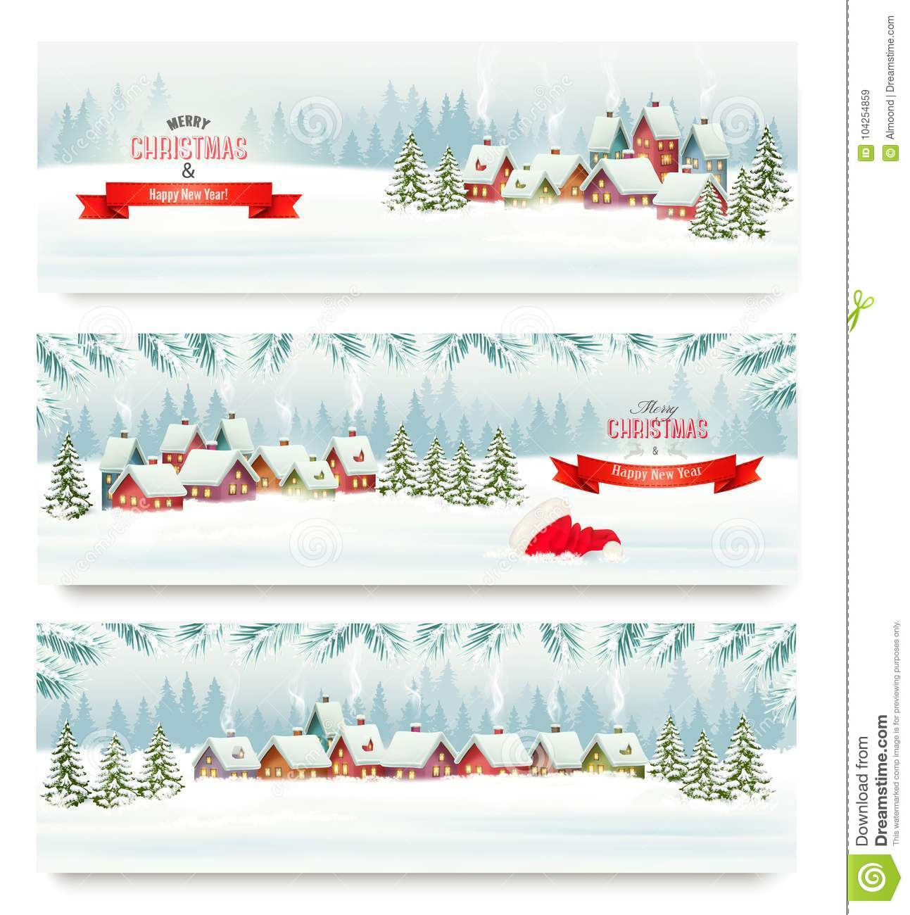 Three Holiday Christmas banners with a winter village