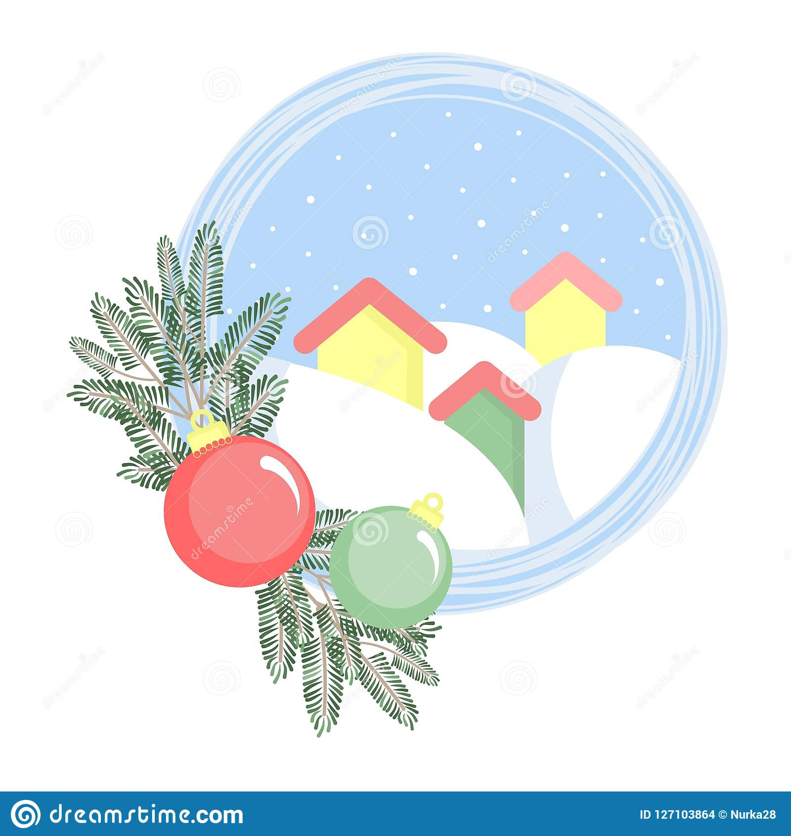 Three houses in snowdrifts with fir branches and Christmas balls.