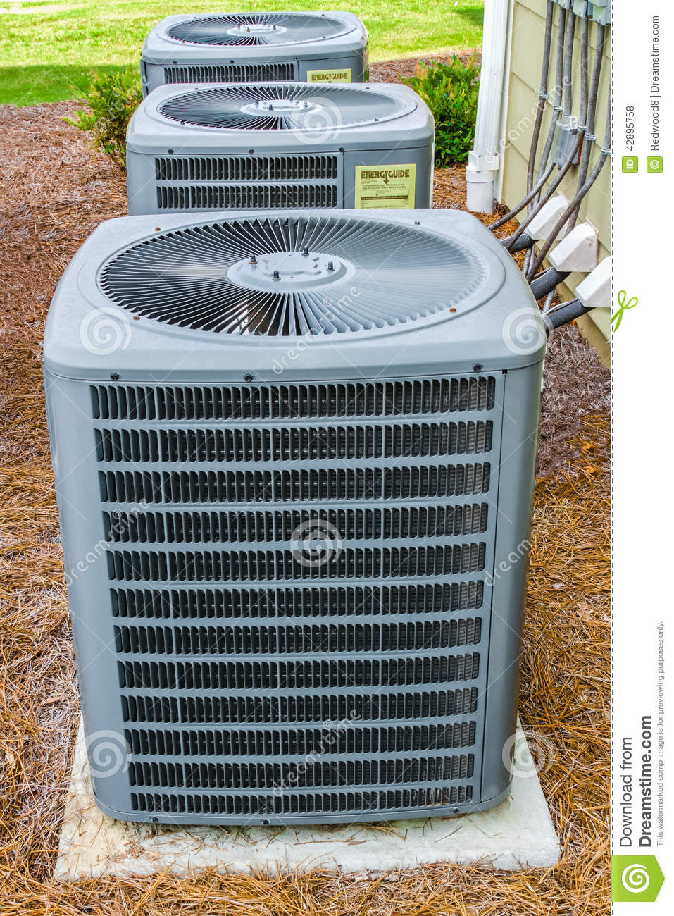 Three HVAC Units stock photo. Image of evaporator, refrigeration ...