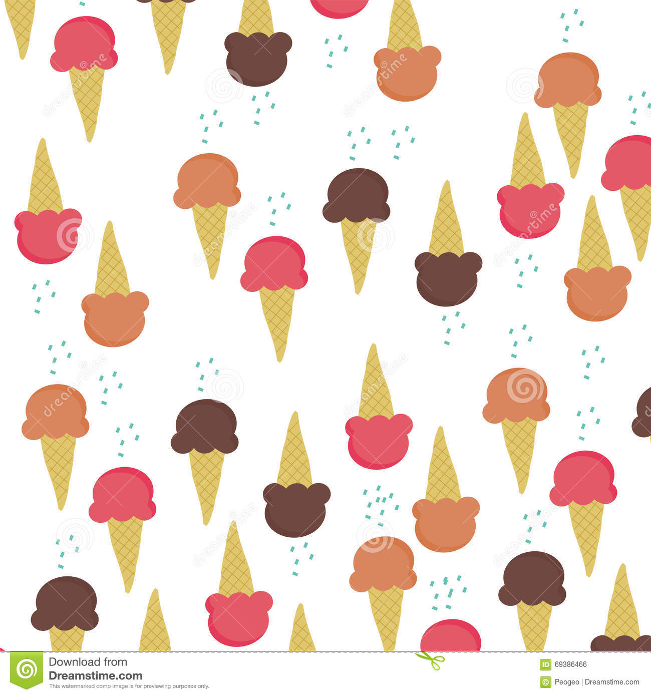 Ice Cream Cones Background Royalty Free Vector Image: Three Ice-cream Cone Flavour On White Background Vector
