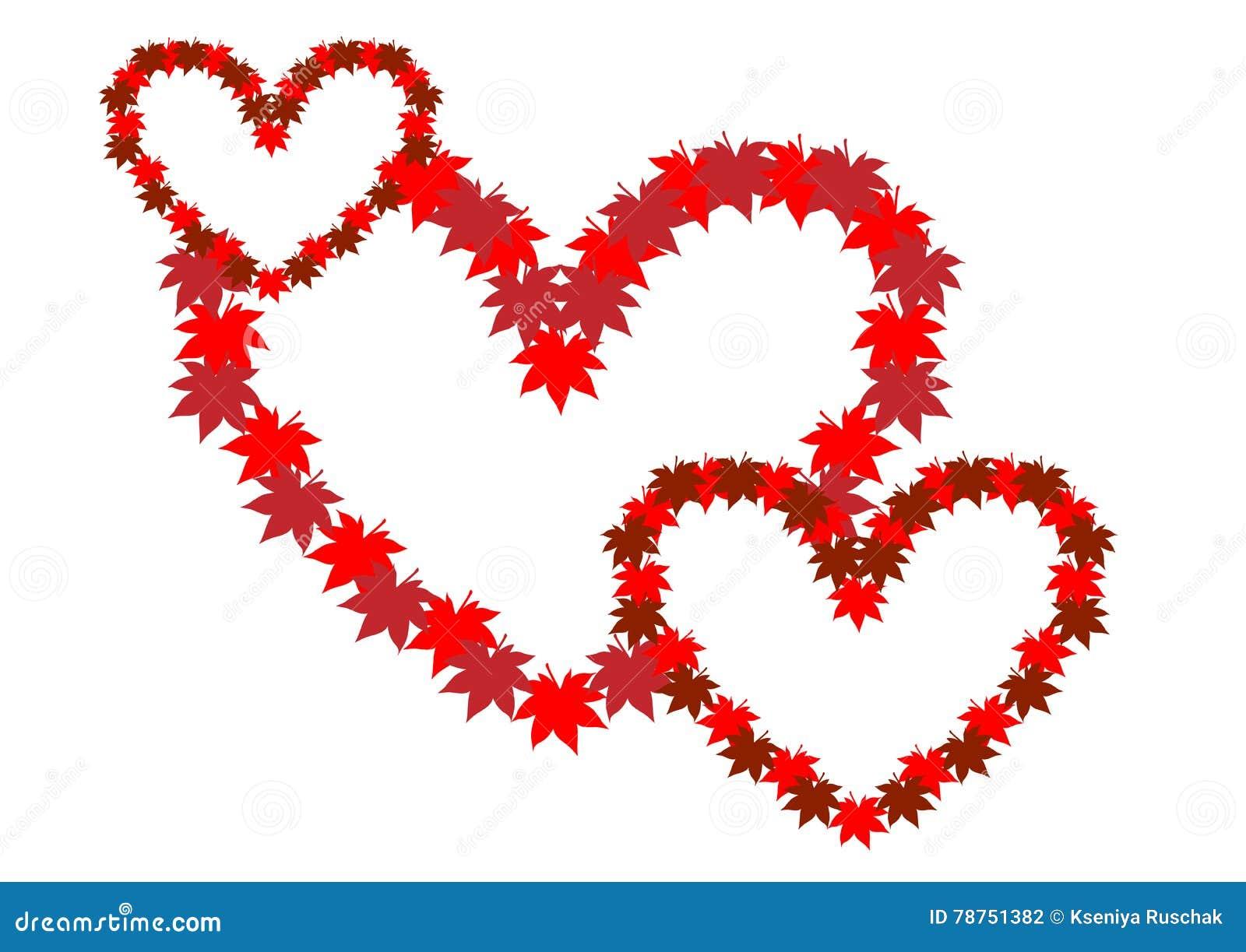 Three Intertwined Hearts Symbol Of Love Stock Vector Illustration