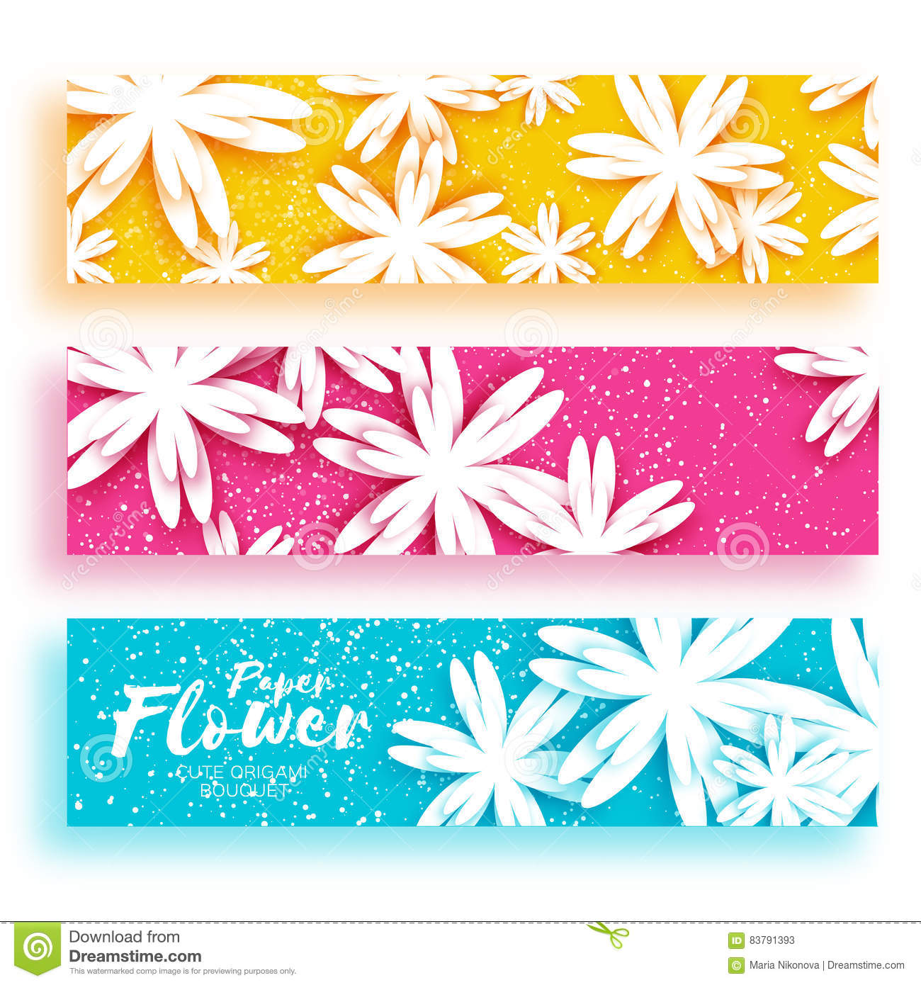 Three Invitation Banner Cards With Paper Cut Origami Flowers Stock