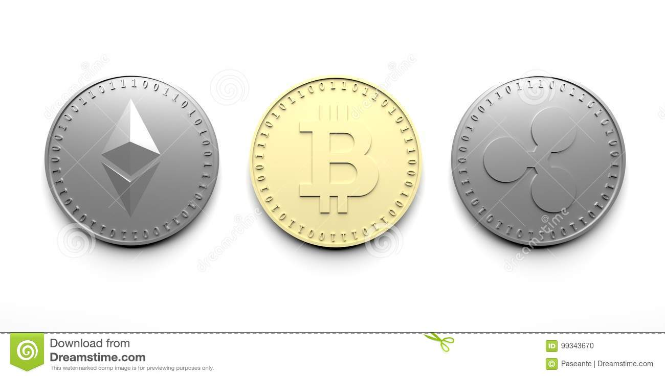 Three isolated coins on a white background - Bitcoin, Ethereum, Ripple, 3D rendering.