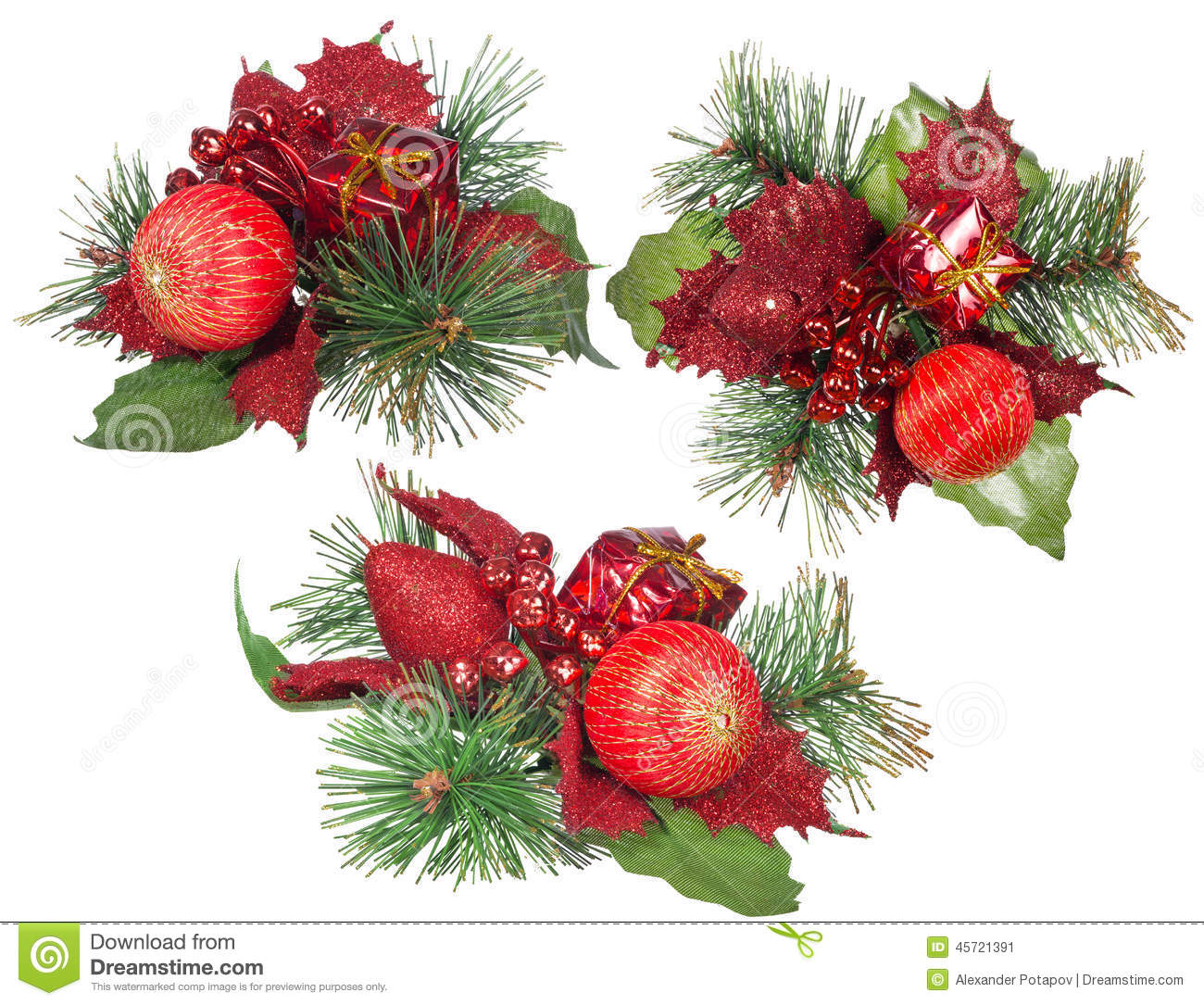 Three isolated red and green christmas decorations stock for Red white green christmas decor
