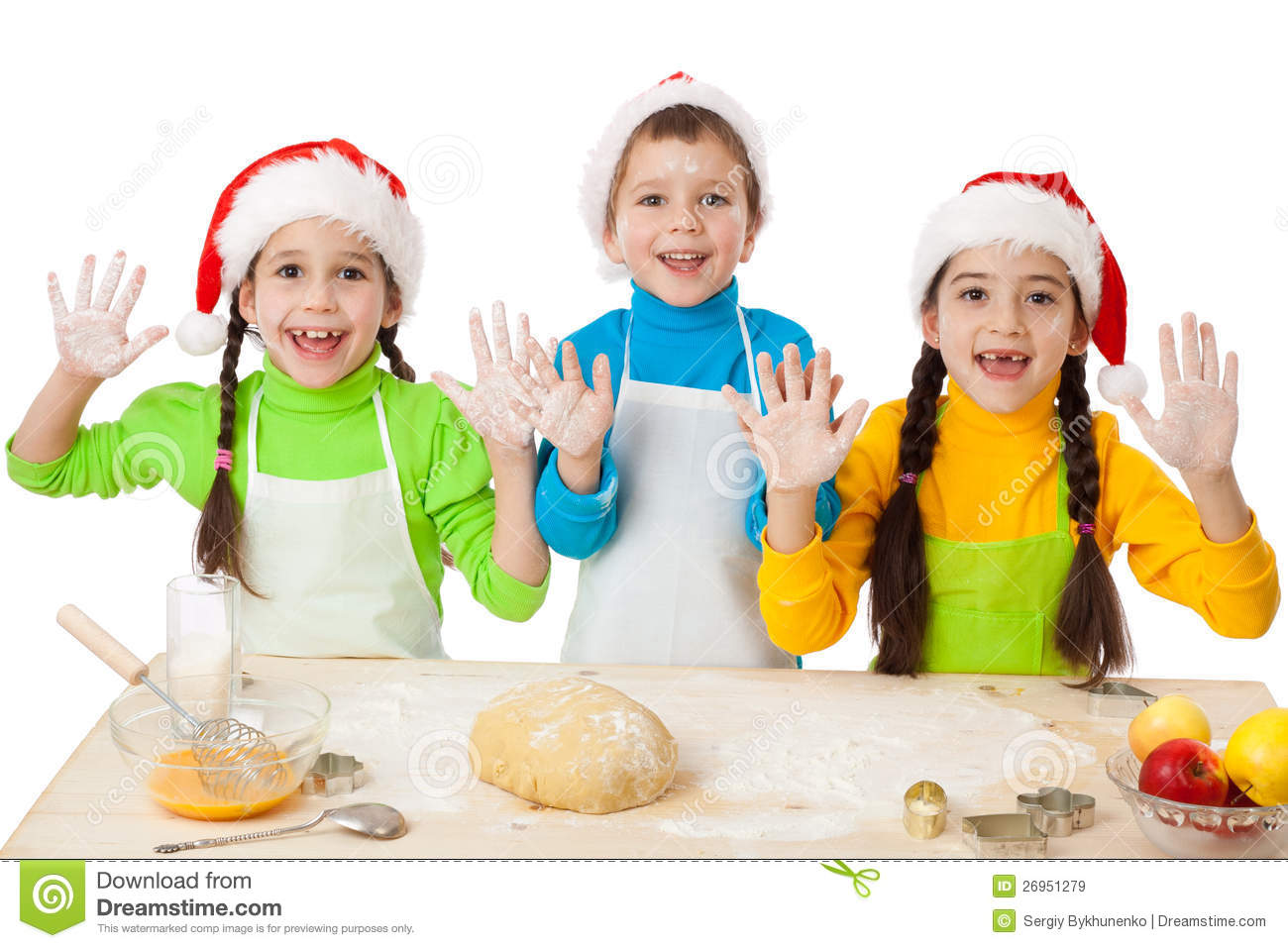 Three Kids With Christmas Cooking Stock Image Image Of Bakery