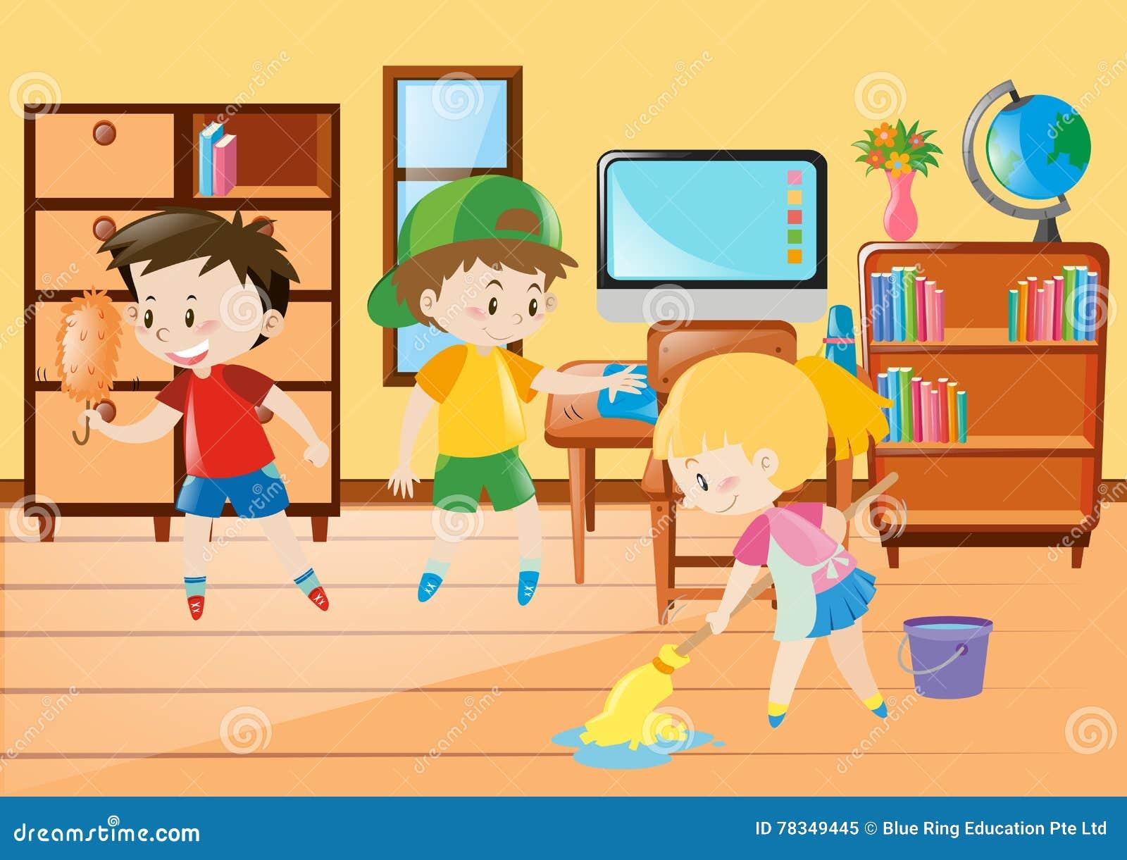 Preschool Classroom Floor Plans Three Kids Cleaning Classroom Stock Vector Illustration