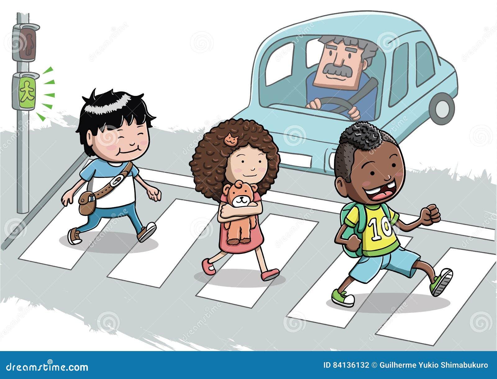 three kids crossing the street using the crosswalk stock