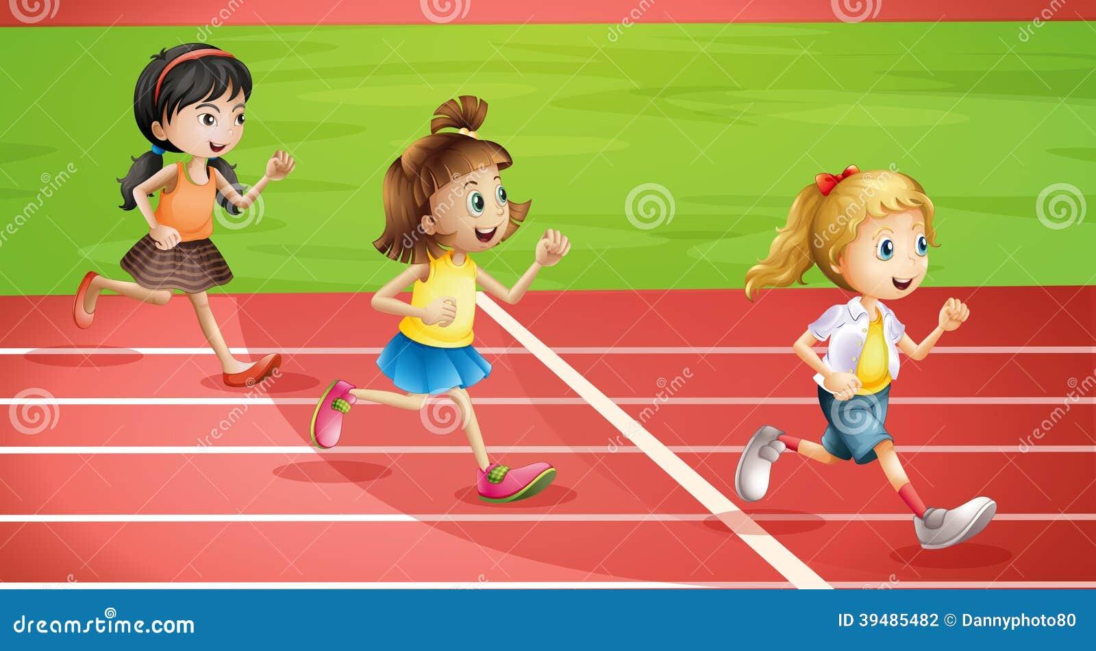 Three kids jogging
